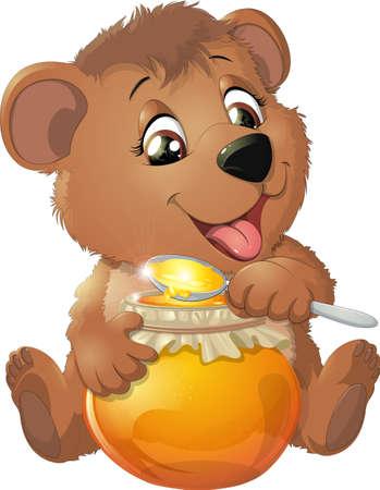クマは、白い背景に蜂蜜を食べる  イラスト・ベクター素材
