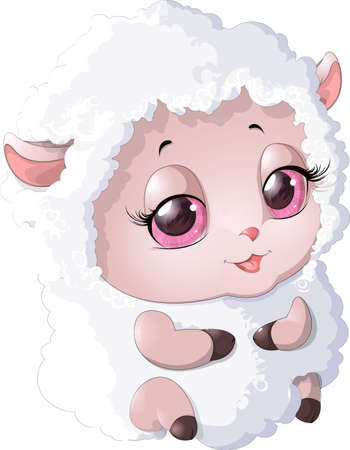 cut away: cute sheep in pink on a white background