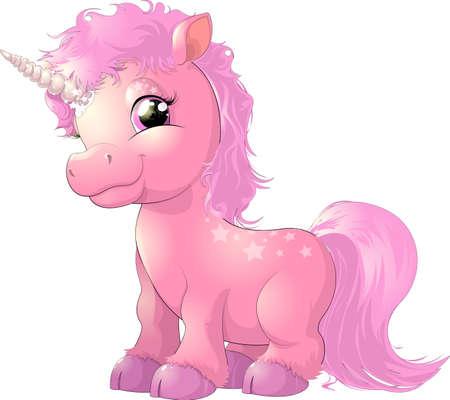 beautiful pink magical unicorn on white background