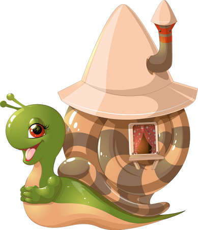 mobil: beautiful cute snail with a house on his back