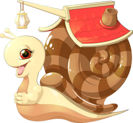 beautiful cute snail with a house on his back