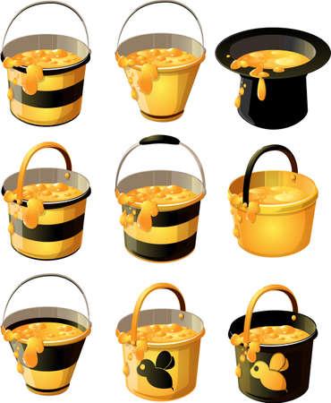 rural wooden bucket: yellow with black stripe bucket of delicious honey