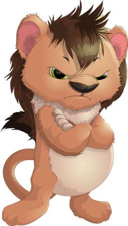 leon de dibujos animados: cachorro con las emociones sobre un fondo blanco Vectores