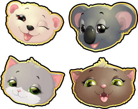 cute: many cute little animals muzzles on a white background Illustration
