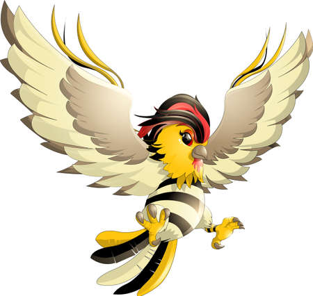 beautiful colorful bird, yellow and black colors on a white background