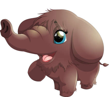 wooly mammoth: beautiful cheerful baby mammoth on white background