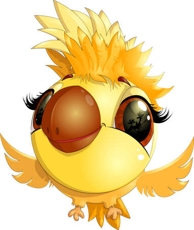 tweet icon: beautiful colorful bird, yellow and black colors on a white background
