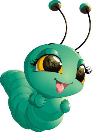 larvae: Cute caterpillar cartoon Illustration