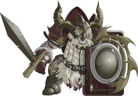 strong men: mighty fantasy dwarf armor on a white background