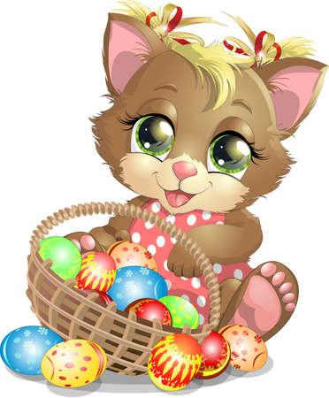 Beautiful Easter kitten Banco de Imagens - 72191160