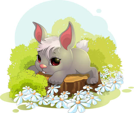Beautiful cute rabbit sitting on a stump in a clearing. Illustration