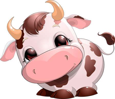 Cute baby cow cartoon. Illustration