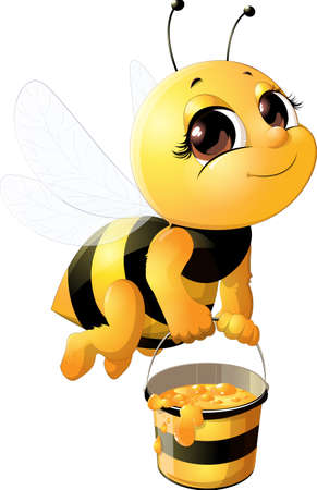 Beautiful bee with a bucket 版權商用圖片 - 81229620