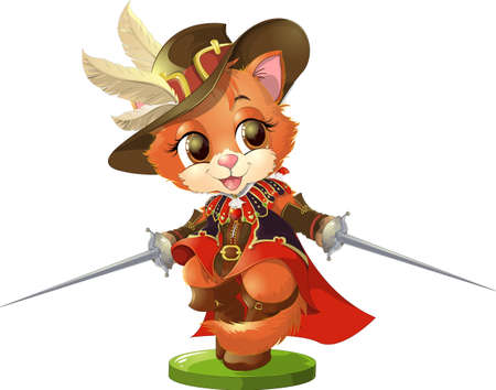 Cat in boots with two swords on a white background