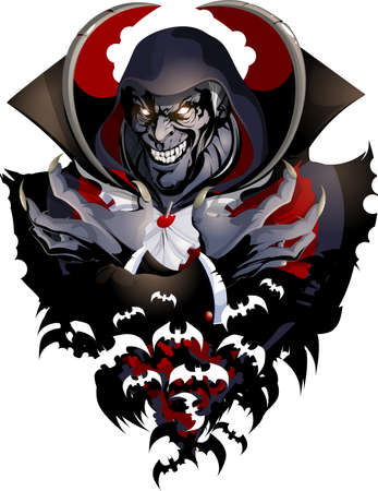 angry vampire in hood painted on white background 矢量图片