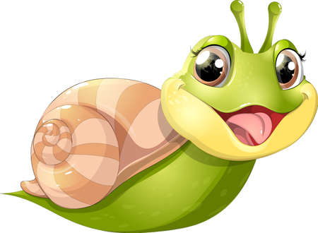 Snail with mobile home, vector illustration. Illustration