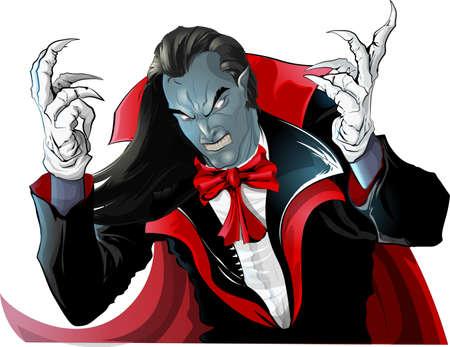 Vampiro enojado en el capó pintado sobre fondo blanco. Ilustración de vector