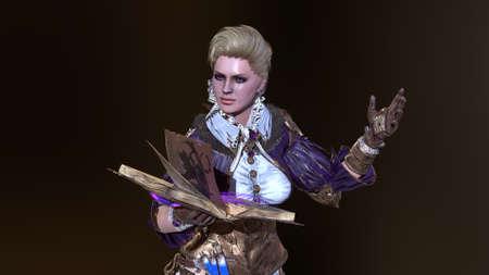 Magic Beautiful Woman 3d render 免版税图像