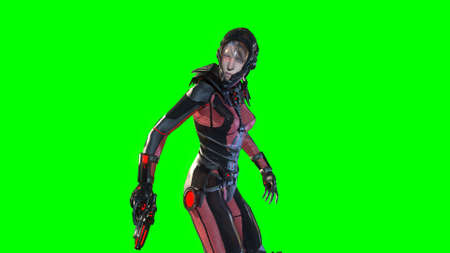Girl in sky fy space suit 3d render on the background of chromakey