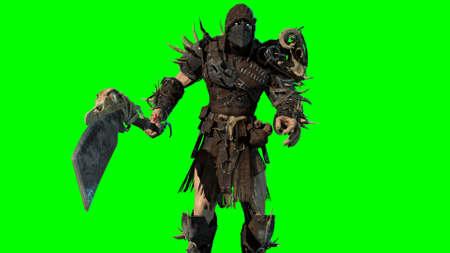 fierce orc fighter 3d render