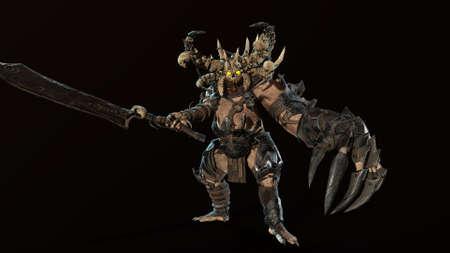 Demon butcher 3d render for chromakey fone