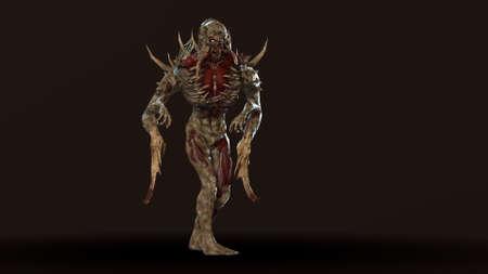 Nuclear post-apocalypse mutant soldier 3d render