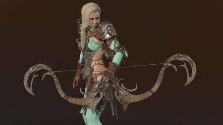 Elf archer Beautiful Woman over black