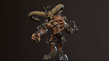 Huge horned demon 3d render Banco de Imagens - 125610733