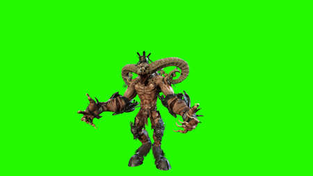 Huge horned demon 3d render Banco de Imagens - 125610738