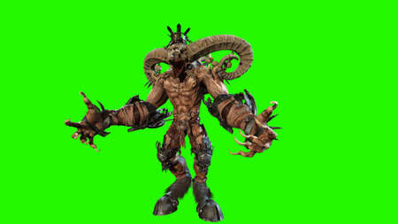 Huge horned demon 3d render Banco de Imagens - 125610739