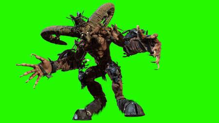 Huge horned demon 3d render