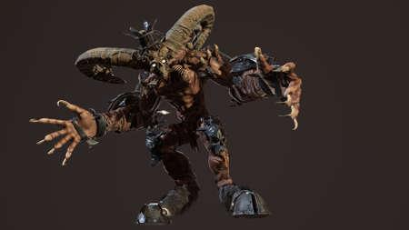 Huge horned demon 3d render Banco de Imagens - 125610752