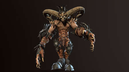 Huge horned demon 3d render Banco de Imagens - 125610753