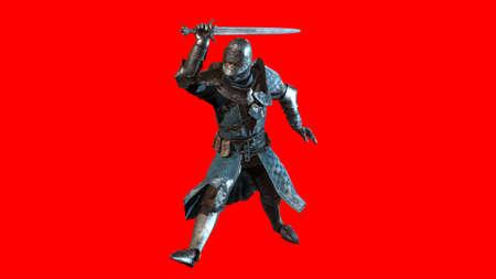 Knight Swordsman in Full Armour, 3D render in multiple views