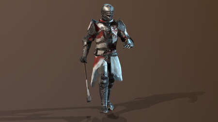 Knight Swordsman in Full Armor, render 3D en múltiples vistas Foto de archivo