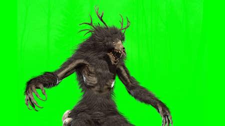 Mythical Wendigo monster on chromakey background 3d render