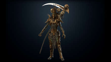 Necromancer, render 3D models on the background of chromakey Banco de Imagens