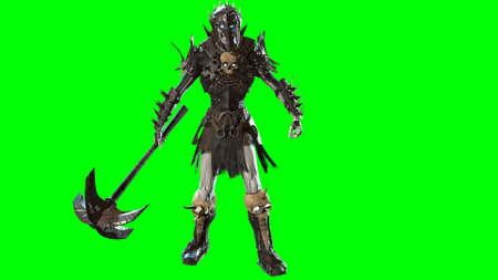 3D render Necromancer  on chroma key background