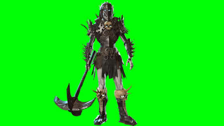 3D render Necromancer  on chroma key background