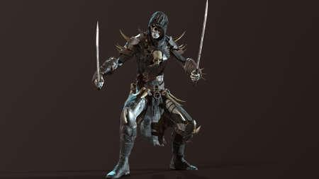 Necromancer, render 3D models on the background of chromakey Standard-Bild