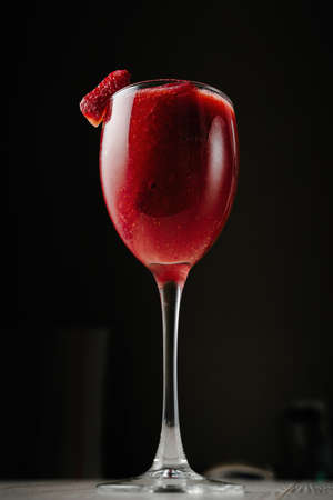 cold cut: Strawberry smoothies in a glass