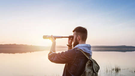 A guy with a telescope for nature... Banque d'images