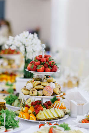 wedding feast: fruit tray on the wedding table healthy food on holidays