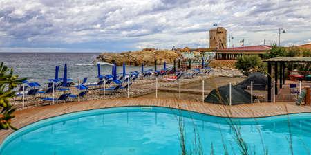 Swimming pool Beach Marciana Marina Elba Stock Photo