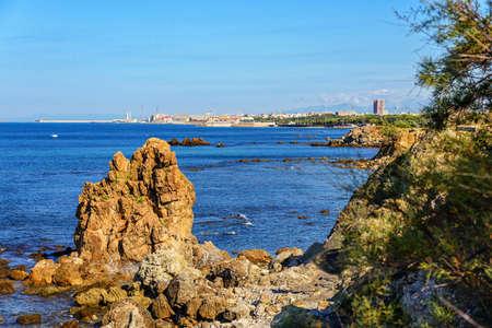 Livorno rock coast town Tuscany 스톡 콘텐츠