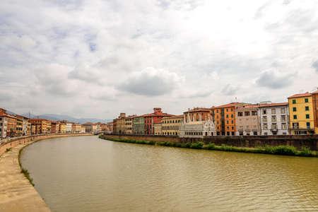 Arno river city shore Tuscany Archivio Fotografico