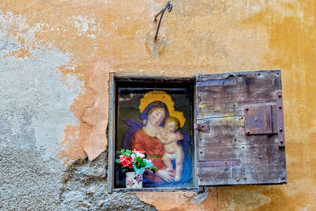 Window Wall House Mary with child Jesus