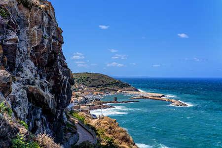 Harbor Mediterranean Castelsardo rocks Archivio Fotografico