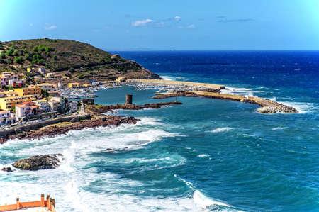 Port Castelsardo Mediterranean Bay Archivio Fotografico