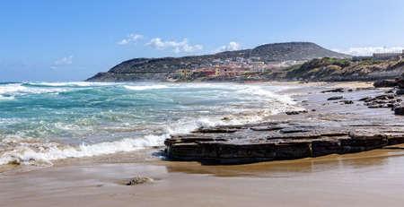Beach Lu Bagnu rocks Mediterranean Sea